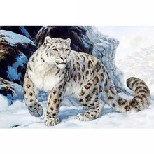 5D DIY Diamond Painting Leopard Cross Stitch Snow Mountains Needlework Home Decorative Full Square Embroidery