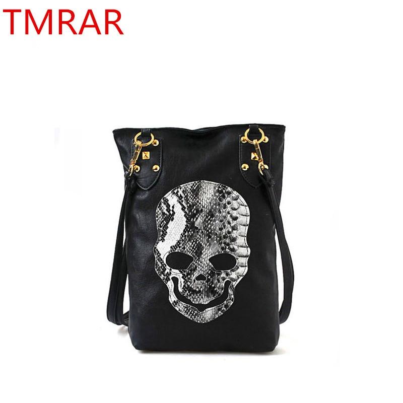 Hot 2019 New Punk Black Skull Face Designer PU Leather Handbags Women's Shoulder Bag Ladies Tote CrossBody Shopping Bag Qqq01