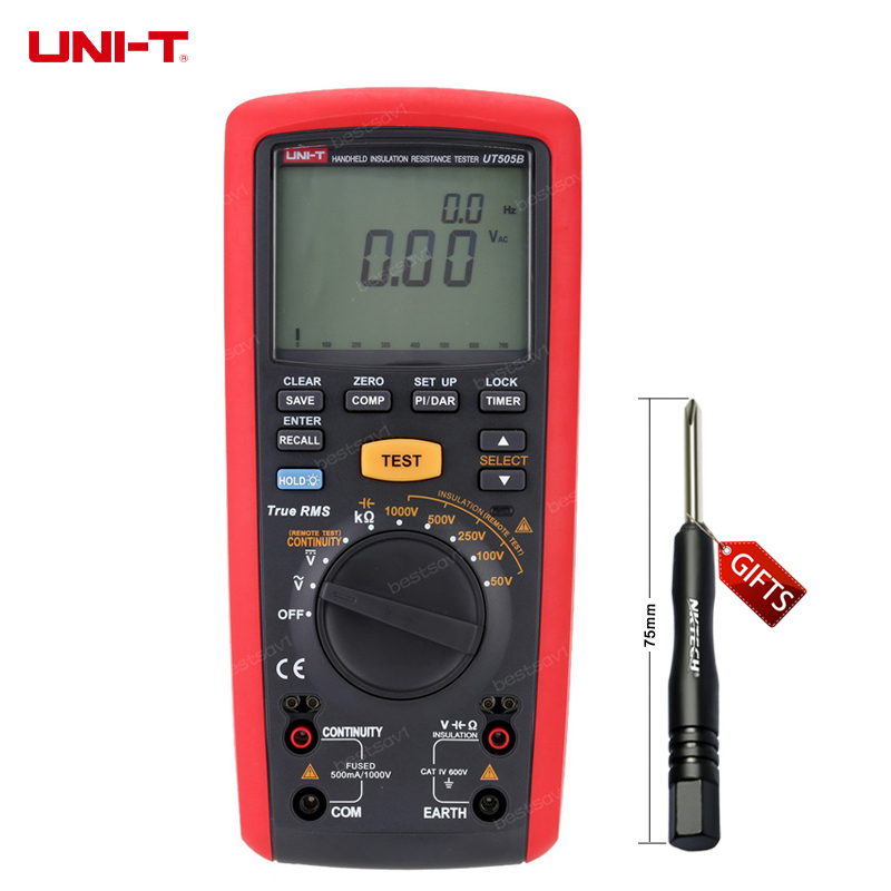 UNI-T UT505B Handheld Digital Insulation Resistance Tester Megger AC/DC Voltage Measurement mastech ms5215 high voltage digital insulation resistance tester megometro megger 5000v 3ma temp 10 70c