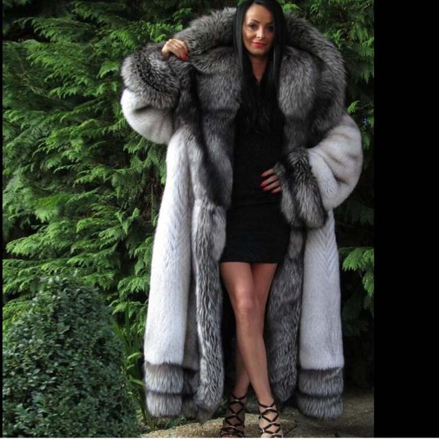 89edf6187 BFFUR Real Fur Coat Luxury Whole Skin With Big Silver Fox Fur Hood Warm  Thick X-long Loose Fur Outerwear Natural Fur Coats Full