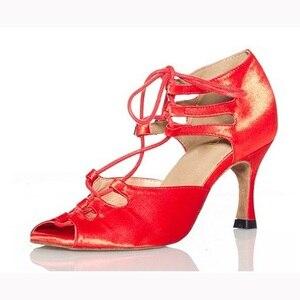 Woman Ballroom Latin Dance Shoes Black Red Salsa Tango Samba Kizomba Bachata Social Dance Shoes High Heel 7.5/8.5/10cm 1810(China)