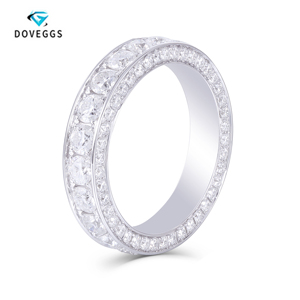 Image 1 - DovEggs 14K 585 White Gold 3 CTW FG Color Lab Grown Moissanite Wedding Band With Moissanite Accents for Women