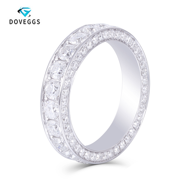 DovEggs 14K 585 White Gold 3 CTW FG Color Lab Grown Moissanite Wedding Band With Moissanite Accents for Women