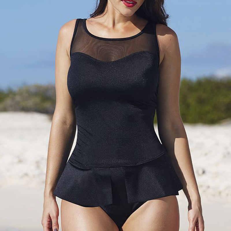 HELLO PANTAI Baju Renang One Piece Ditambah Ukuran Perempuan Pakaian Renang Mesh Swimwear Retro Pakaian Renang Monokini Swimsuit Pakaian Renang Besar