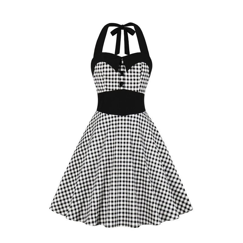 Elegant Office Ladies Plus Size Party Gothic Vintage Women Midi Dresses Halter Plaid Button Sweet Female Chic Goth Retro Dress