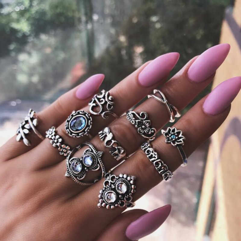 11 Pcs/ Set Vintage Punk Leaf Elephant Flower Crown Gem Silver Joint Ring Set Women Personality Party Birthday Fashion Jewelry