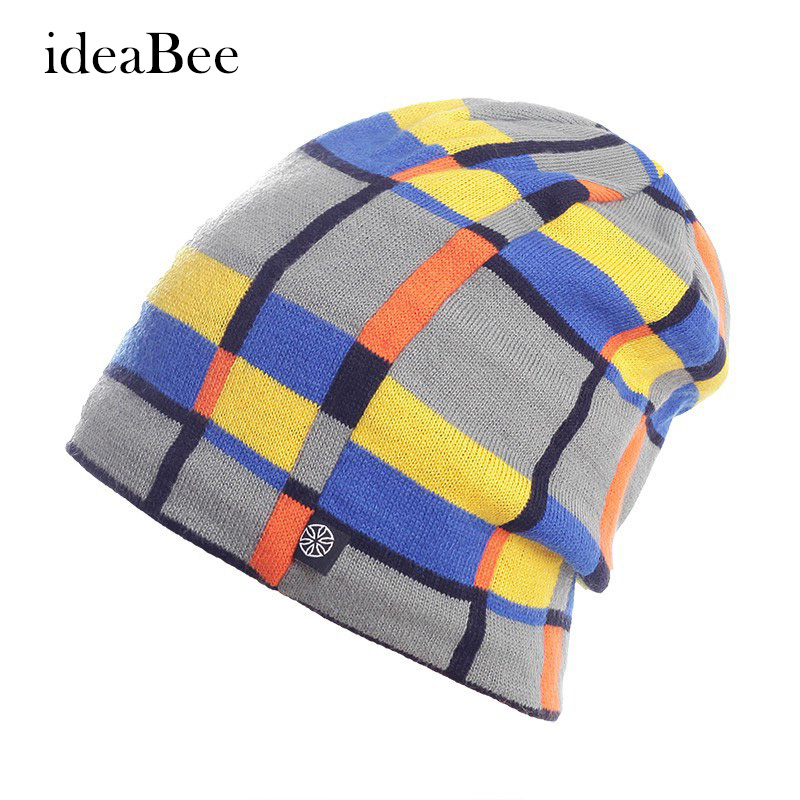 ideacherry Winter Hat High Quality Snowboard Skating Unisex Caps Warm Plaid Knitting Beanies Knitted Hats Gorros E Toucas cn rubr high quality casual hat winter skating unisex caps warm dot knitting beanies christmas gifts for women men