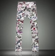 Белый весна тонкие Печатные картины животных джинсы мужские тонкие эластичные джинсовые брюки мужской джинсы ноги брюки мужская одежда