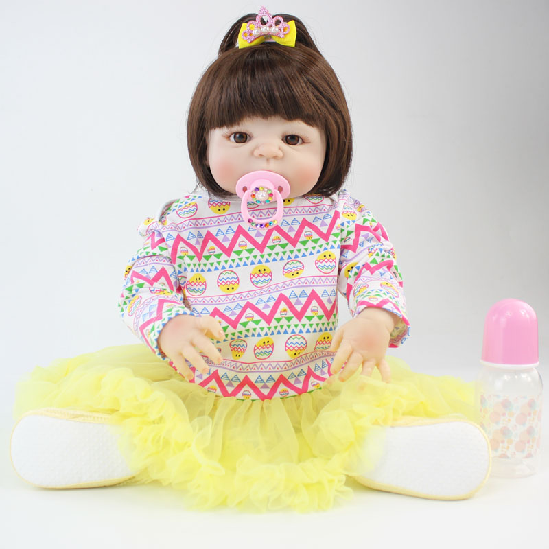 55cm Full Body Silicone Reborn Alive Baby Doll Toy Vinyl Bebe Newborn Princess Babies With Earring Girl Bonecas Play House Bathe