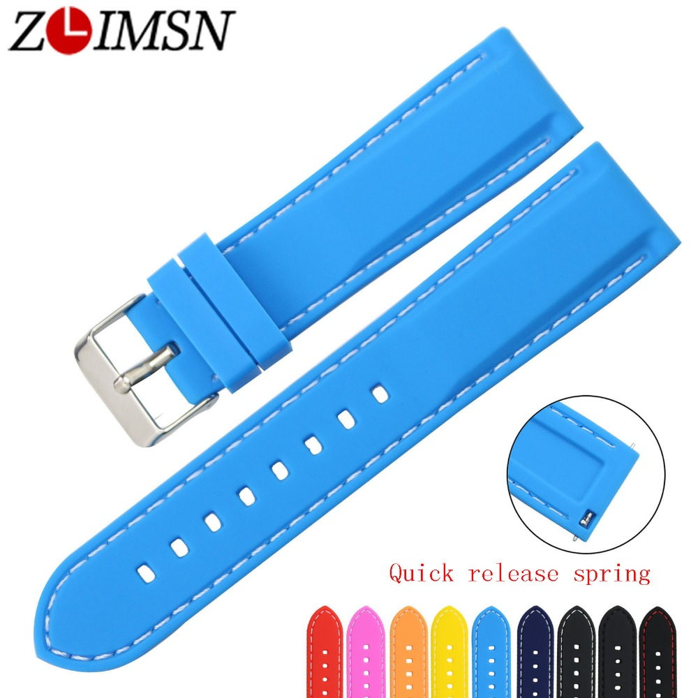 ZLIMSN Free Shipping Rubber Dive Sport Watch Bands 18 20 22 24mm Belt Quick Release Spring Bar Silicone Watch Strap Replacement