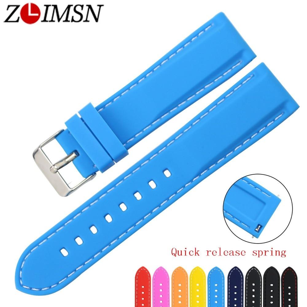 ZLIMSN gratis verzending rubberen duik sport horlogebanden 18 20 22 24 mm riem snelsluiting veerbalk siliconen horlogeband vervangen
