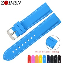 ZLIMSN Free Shipping Rubber Dive Sport Watch Bands 18 20 22 24mm Belt Quick Release Spring Bar Silicone Strap Replacement