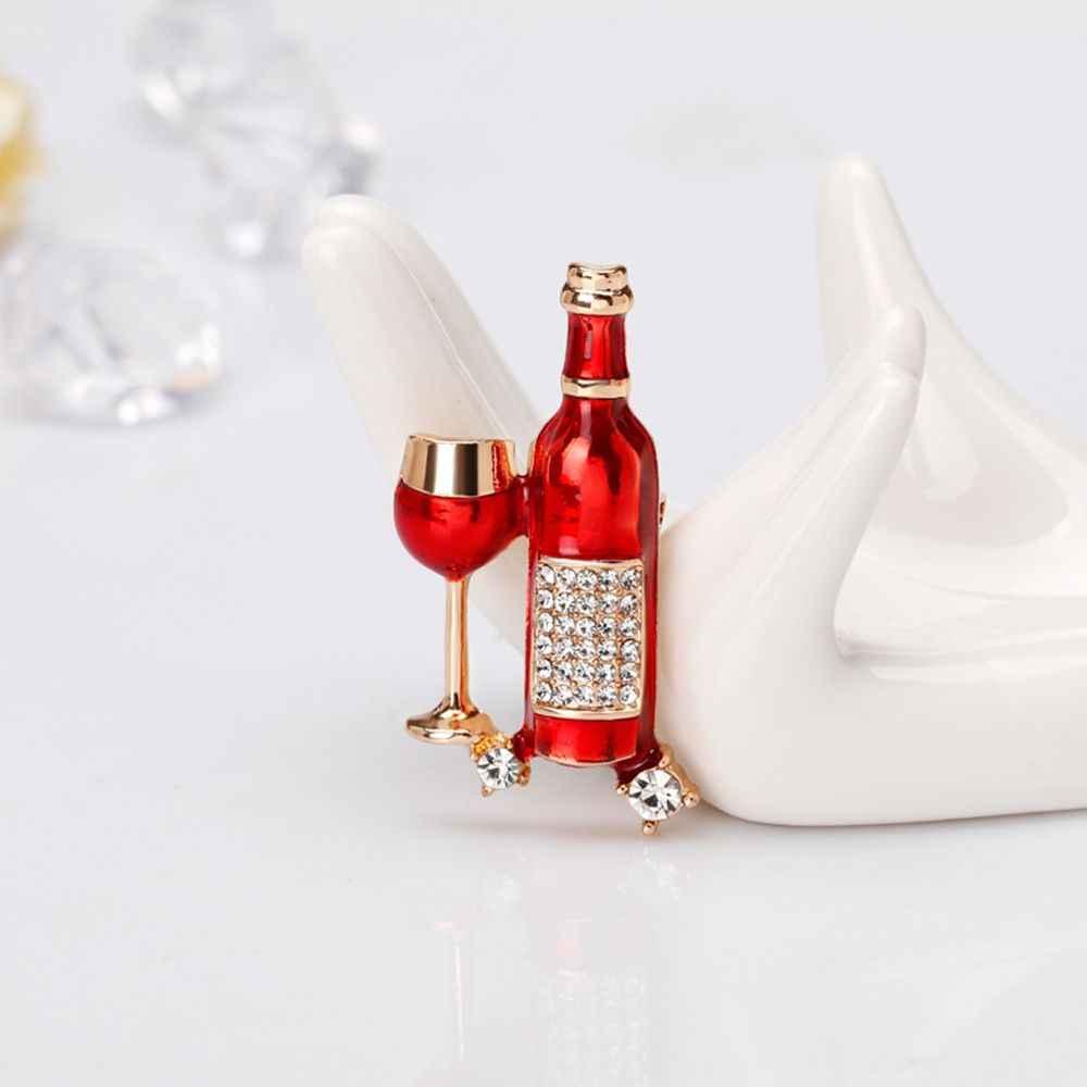 1 PC Unisex Anggur Merah Botol Bros Syal Gesper Kerah Pin untuk Wanita Pria Pesta Pernikahan Bros untuk Pecinta terbaik Teman Pin