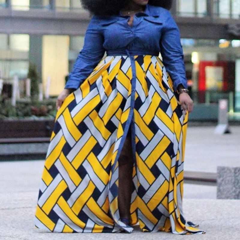 Африканская Роба мода плюс размер Макси платье для женщин с длинным рукавом Цвет Блок желтый сплит сексуальный весна осень высокая талия рубашка платья