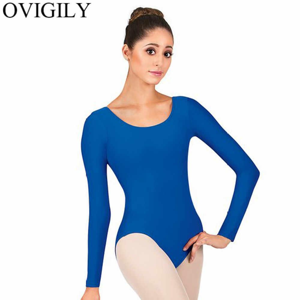 OVIGILY الكبار ليكرا طويلة الأكمام يوتار ل الجمباز المرأة الأزرق الملكي سكوب الرقبة الباليه ثياب قطعة واحدة مرحلة الرقص ارتداء
