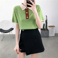 Retro Coloured Turn Down Collar Tees Buttons Avocado Green Knitted T shirts