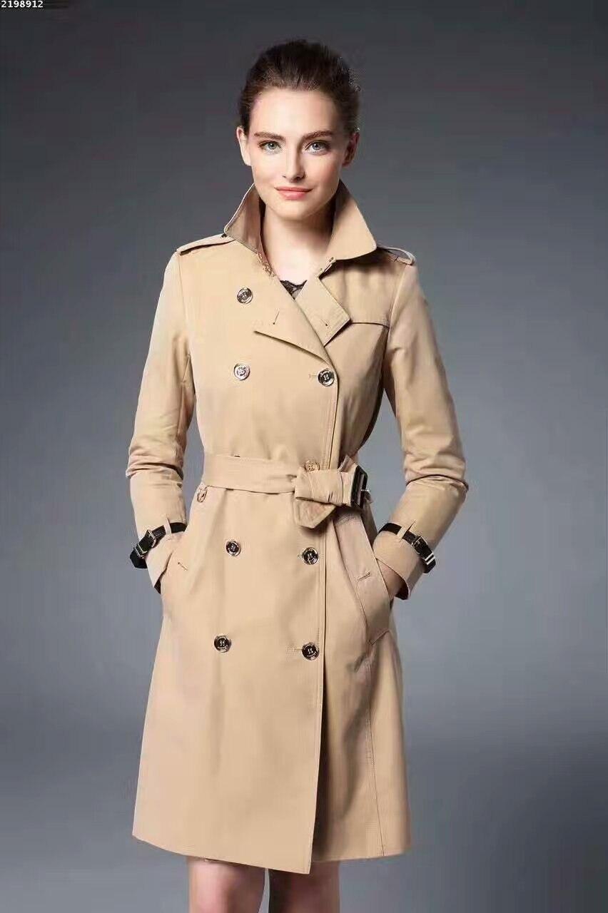 Femmes Mince Plus Vêtements 2016 Célèbre Manteau Tranchées Nouveau Automne Trench Manteaux Long Tissu Noir Pour kaki Noir qtxz8gtn