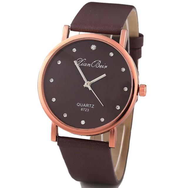 Fashion Style Women's Diamond Case Leatheroid Band Round Dial Quartz Wrist Watch watch for women DROP SHIPPING J10W30HY