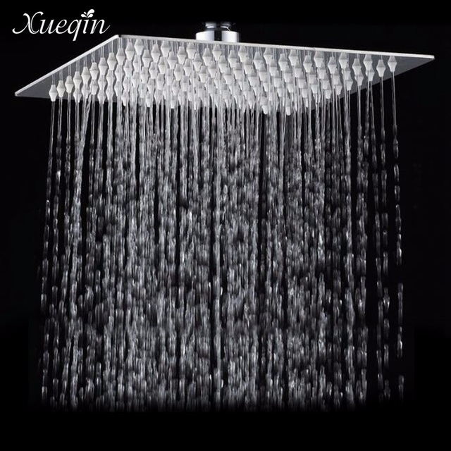 Xueqin 12 Inch Square Bathroom Stainless Steel Rain Shower Head