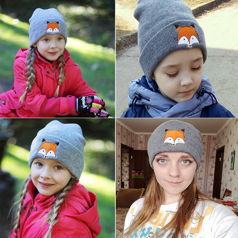 Grey Girl's Hats Winter Beanie Baby Sweater Fox Ktfgs Girls Boys Wool Warm Scarf Hood Holds Hats