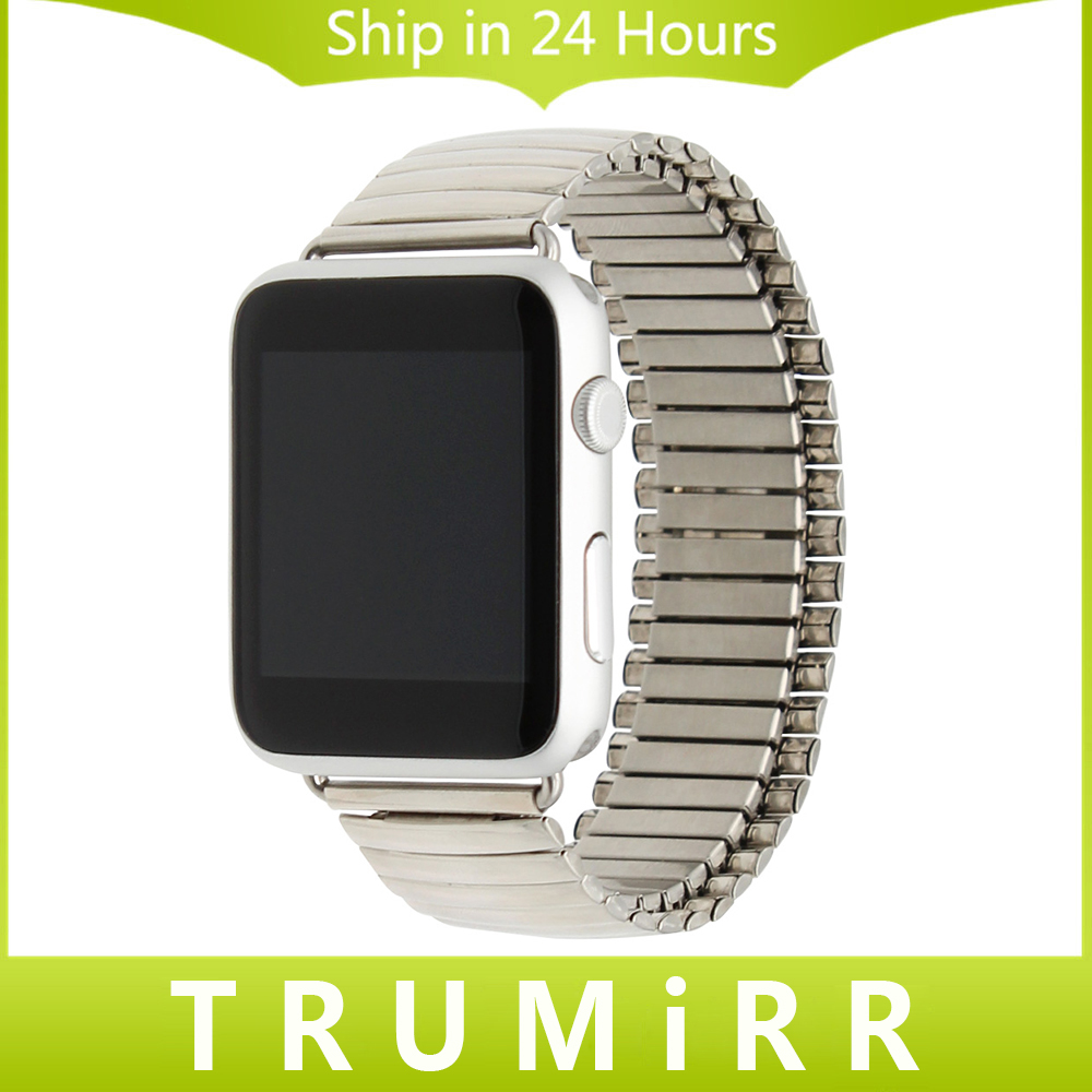 Stainless Steel Watchband Elastic Strap for iWatch Apple Watch 38mm 42mm Replacement Band Link Belt Bracelet Silver + Adapters fashion metal stainless steel mesh watch strap for apple watch iwatch wristwatch strap black silver 38mm 42mm replacement
