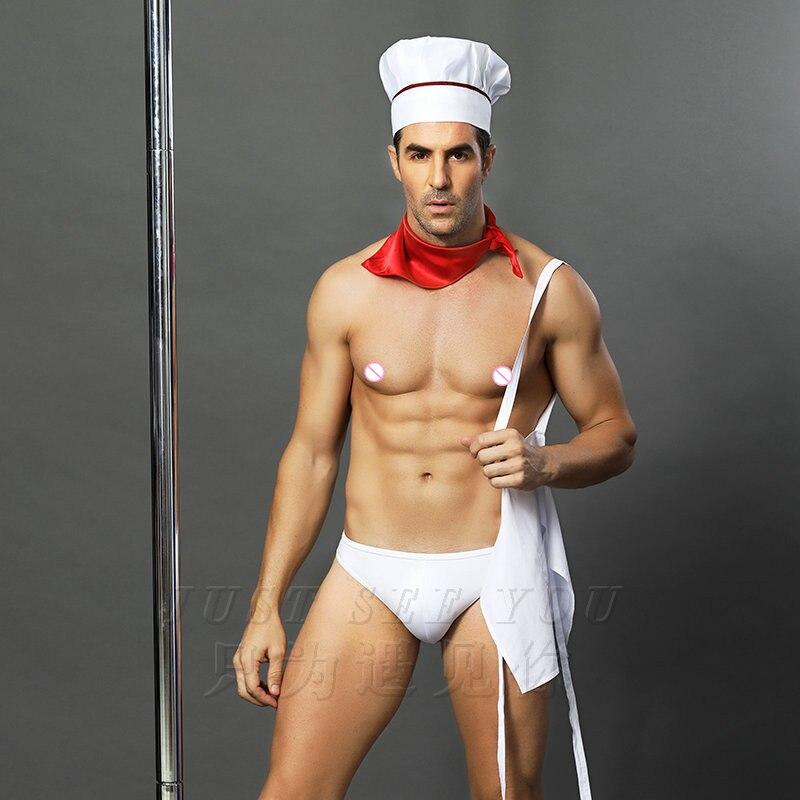 6612 Erwachsene Manner Sexy Lingerie Hot Erotic Kochchef Uniformen Halloween Party Kochchef Kostume Phantasie Lebensmittel Diener Cosplay Outfits