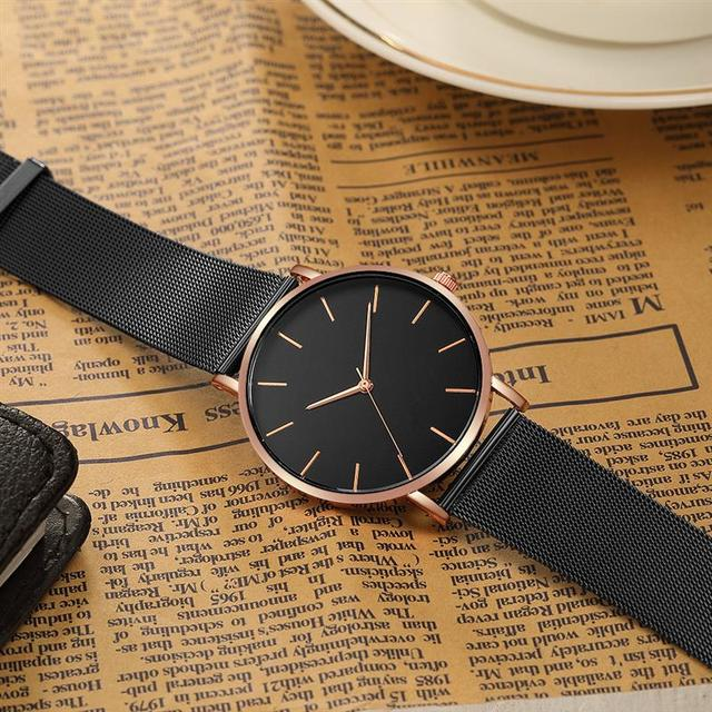 2020 Montre Femme Modern Women Watch Fashion Black Quartz Wristwatch Women Mesh Band Simple Watches Luxury Ladies Reloj Mujer 3