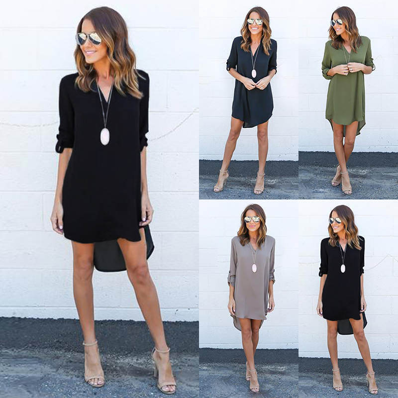 Women Blouse V Neckline Chiffon Long Sleeve T Shirt Loose Short Dress Tops