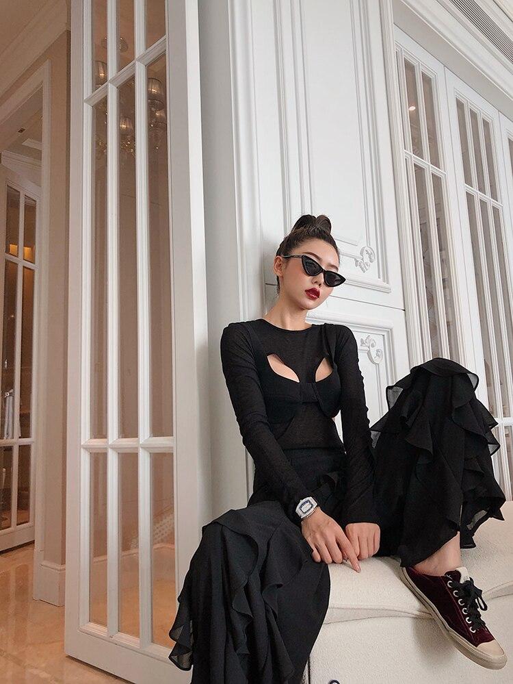 Moda Costura Salvaje Alta Las Chiffon Negro Cintura Black Nueva Pantalones Vintage Casual Ancha Pierna Getsring Mujeres Gasa 2019 De Pantalón Tqn1wvSp