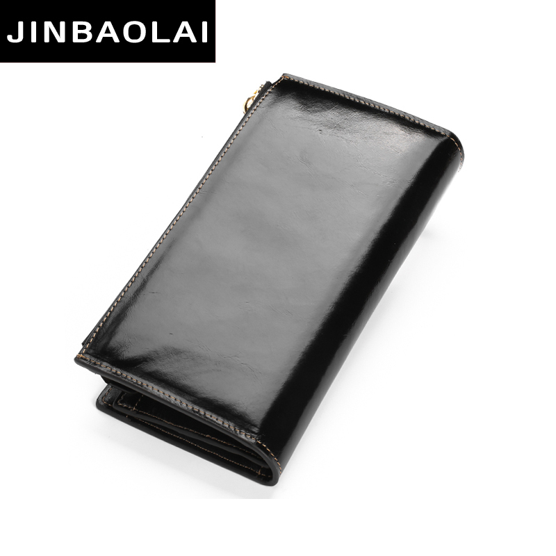 JINBAOLAI Fashion Women Wallets Design High Quality Genuine Leather Wallet Female Hasp Zipper Long Purses Card Holder Lady purse high quality women wallet brand design genuine sheepskin leather wallet female hasp fashion long women wallets and purses x37