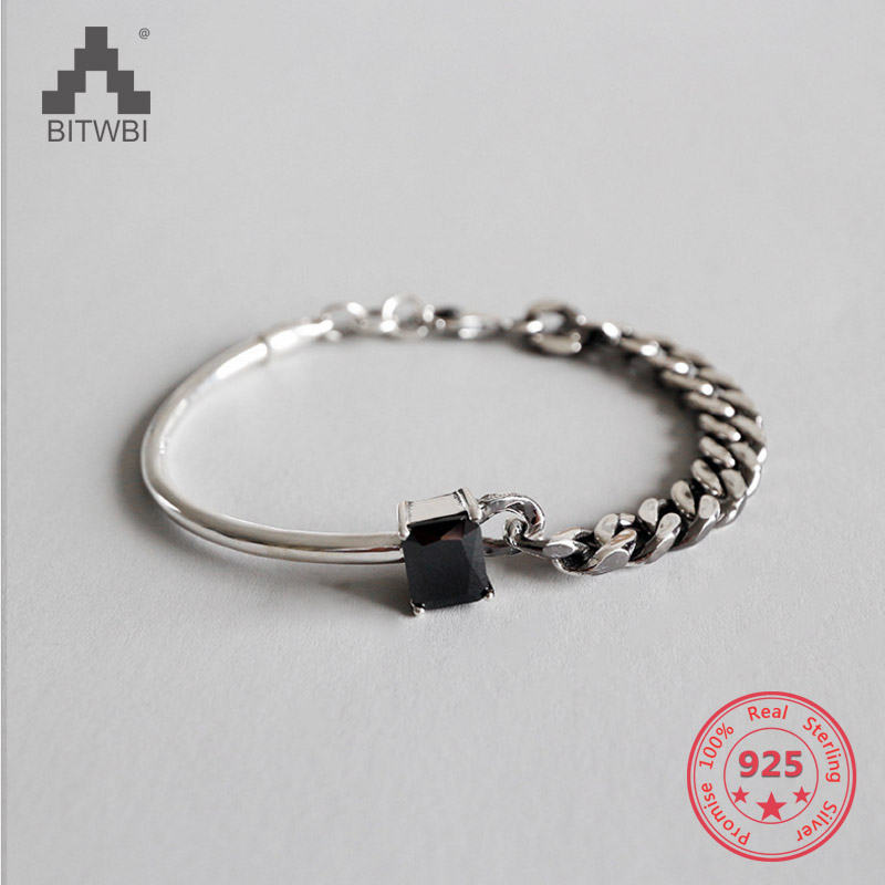 925 Sterling Silver Jewelry Vintage Square Black Agate Chain Bracelet все цены