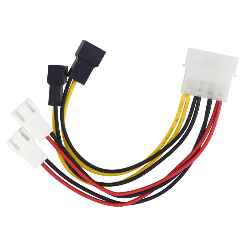 6 inch IDE Molex 4-pin to Case cooling Fan 3-pin TX3 Multi-Fan Out Power Adapter Converter Cable w/ Speed Reduction ,2x5V/2x12V