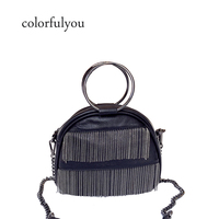 2019 Fashion tassel Shell bag New Women Handbags High quality PU Leather chain shoulder bag Punk Girl small Messenger bag purse