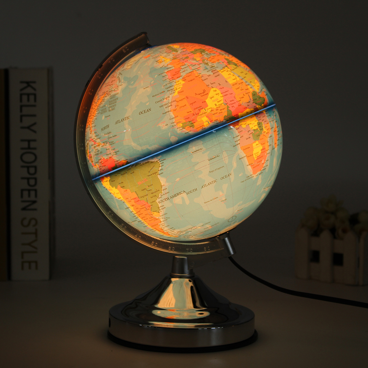Geography Map Illuminated Blue Ocean World Earth for Home School Office EU Plug Globe Rotating With Night Light Desktop Decor 12 5 world earth globe map geography led illuminated for home office desktop decoration education toy kids gift