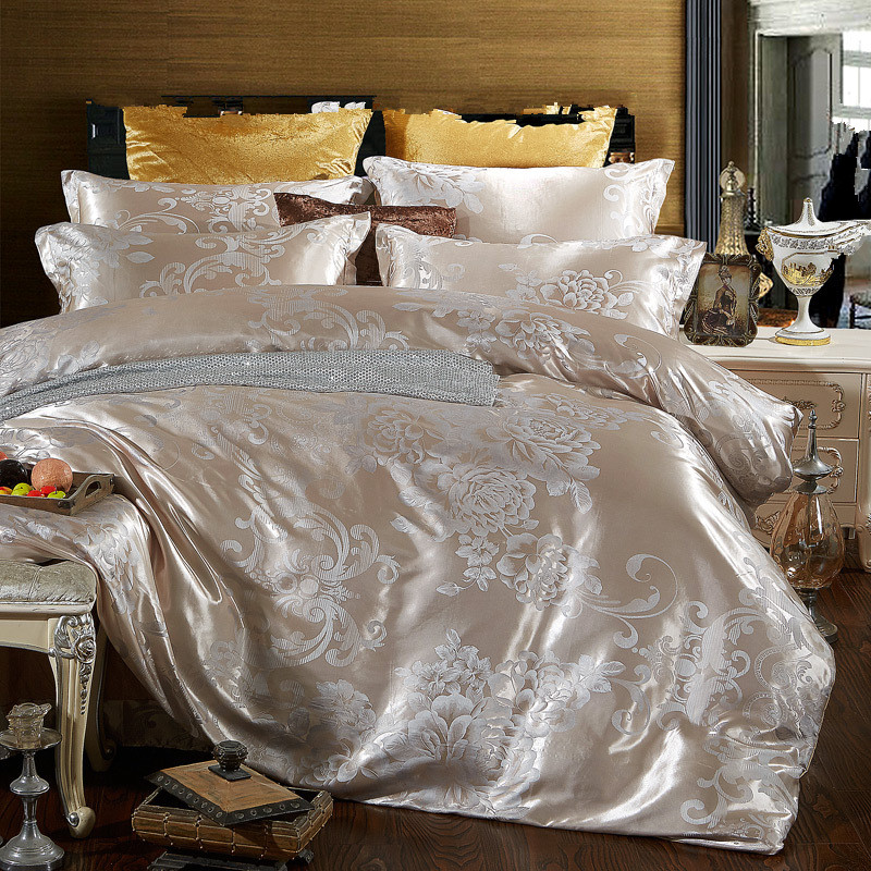 Permalink to bedding set cotton jacquard luxury stain bed set  bed cover spring sheet 4pcs/set Queen king duvet set cover bed bedclothes