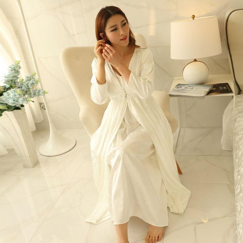 High Quality Robe set Sleepwear Women Long-sleeve Nightgown Two Pieces Set Queen Robe Dress Gorgeous Sexy Goddess Robe