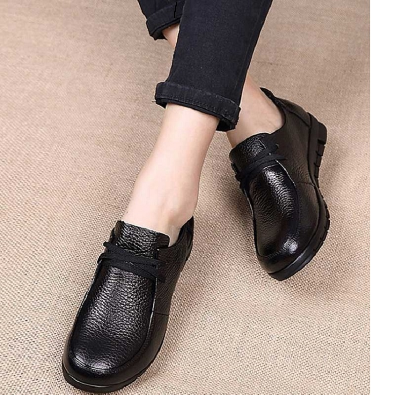 Designer Women Ballet Flats Black Genuine Leather Loafers Casual Shoes 2019 New Buty Damskie Low Heel Chaussure Femme