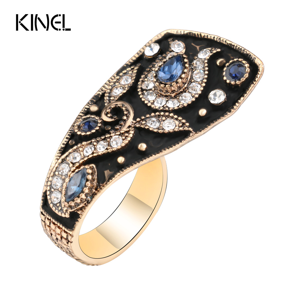 Kinel Unique Vintage Wedding Ring Jewelry Black Enamel Color Ancient Gold Party Blue Rings For Women Luxury Crystal Gifts|wedding rings|rings for womenring for - AliExpress