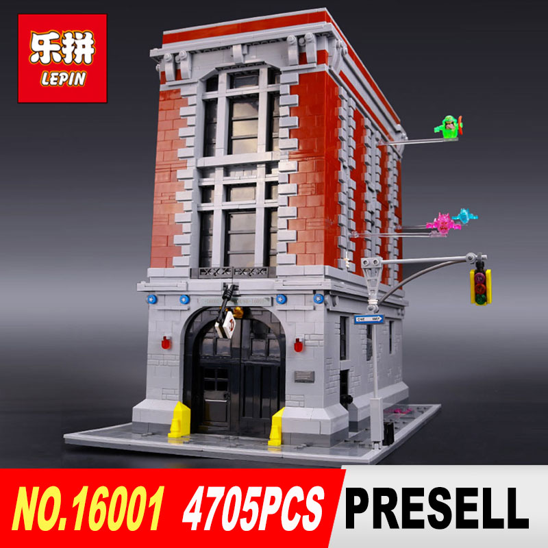 DHL Free shipping LEPIN 16001 4695Pcs Ghostbusters Firehouse Headquarters Model Building Kits Model set brin quedos 75827 4695pcs lepin 16001 city series firehouse headquarters house model building blocks compatible 75827 architecture toy to children