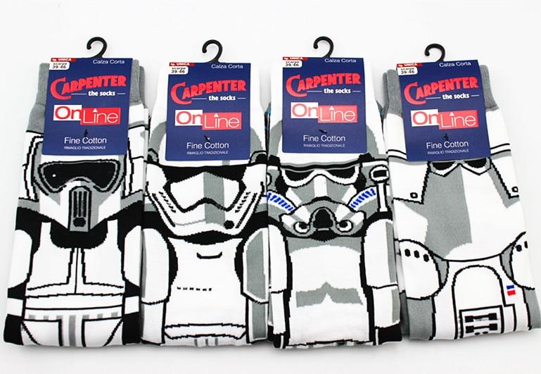High Quality New Arrival Star Wars Patterns Casual   Socks   All cotton cartoon men's   socks   Film white Samurai anime robot   socks   sox