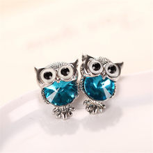 3ac6eaac0 Fashion Cute Crystal Owl Girls Stud Earrings For Women Vintage Gold-Color  Animal Statement Earrings Free Shipping
