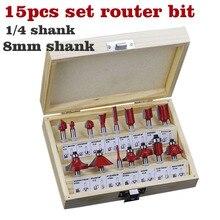 15 ชิ้น/เซ็ตเครื่องตัดไม้ Milling 1/4 /8 มม. คาร์ไบด์ Router Bit สำหรับตัดไม้แกะสลักตัดเครื่องมือ