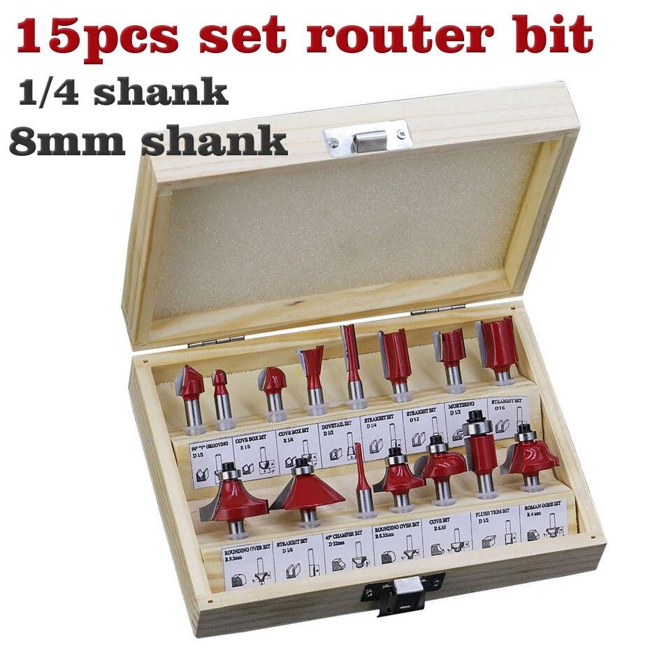 15 pçs/pçs/set carpintaria fresas 1/4 mm'/8 mmshank carboneto roteador bit para cortador de madeira gravura ferramentas de corte