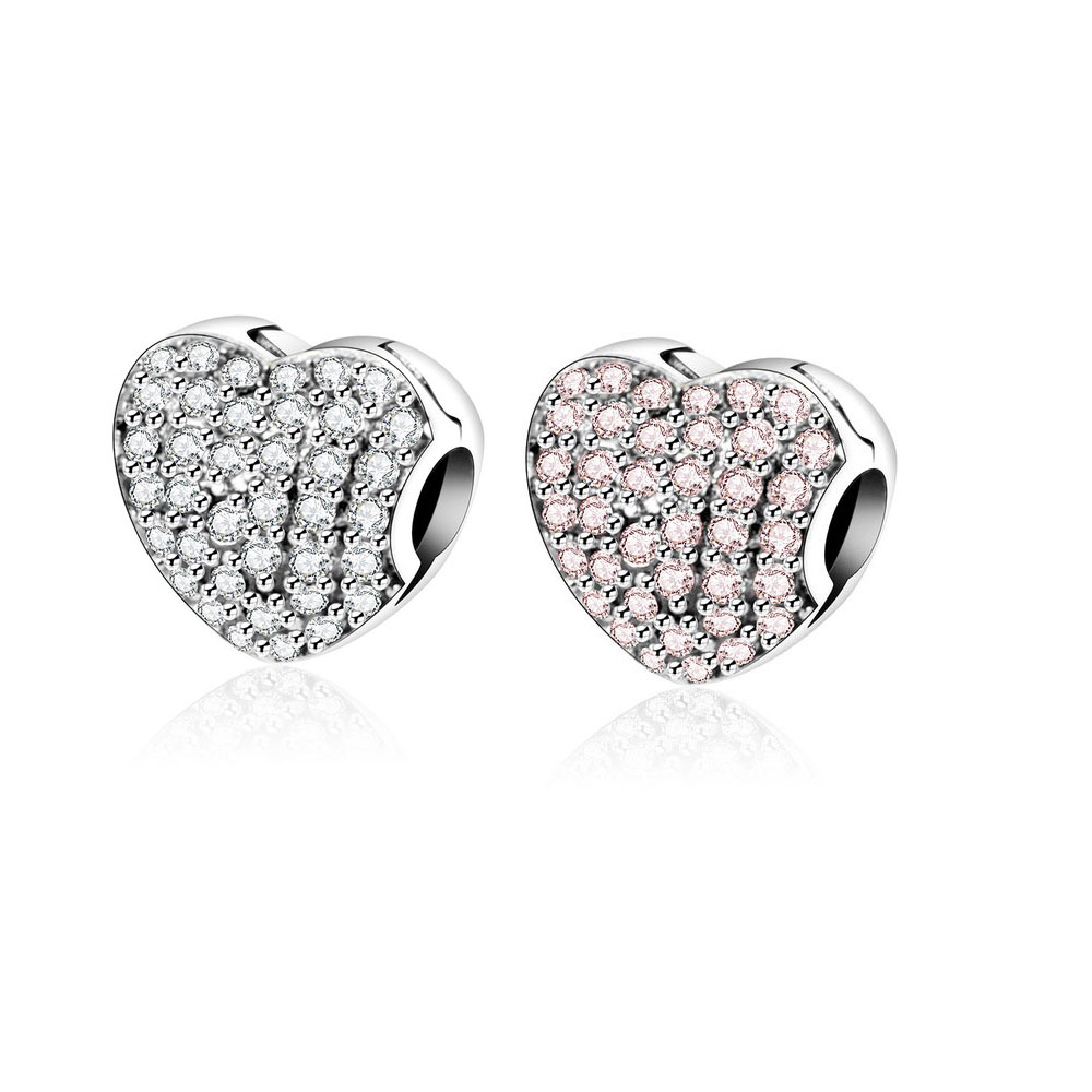 Se adapta a Pandora Charm Original Pulsera Heart Clip 925 Sterling Silver Pave Zircon Stopper Mujer Bead for Friend European Jewelry