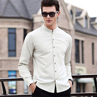 Male Spring Autumn Fashions Brand Shirts Men Mandarin Collar Long Sleeve Slim Fit Streetwear High Quality Casual Male Shirt