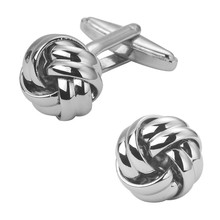 Men's shirts Cufflinks high-quality copper material Silver round two strand twist Cufflinks 2 pairs of packaging for sale