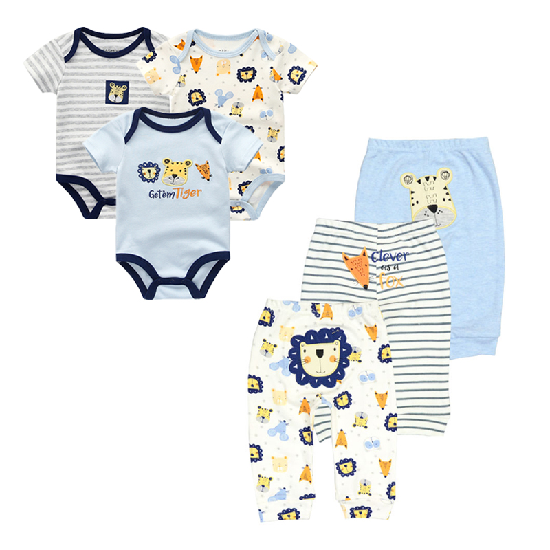 Newborn short sleeves Baby rompers +baby pants cartoon Cotton baby clothing ropa bebe baby clothes sets baby jumpsuit