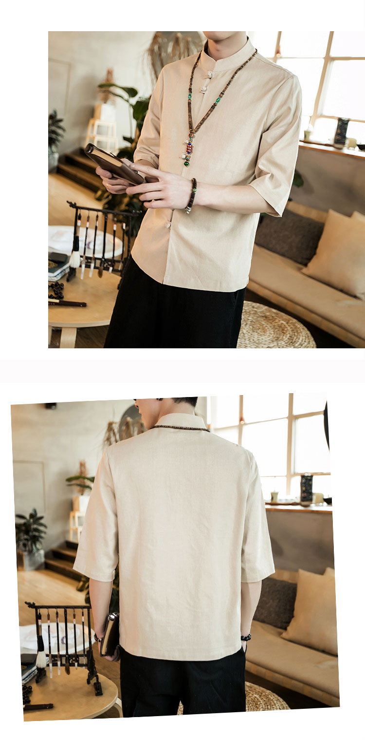 Chinese style summer fashion man's Pure color linen Short sleeve shirt high-grade male comfortable slim fit leisure shirt M-5XL 48