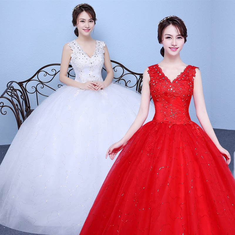 2017 new stock plus size women pregnant bridal gown wedding dress ball gown lace sexy deep v neck red white long cheap 048
