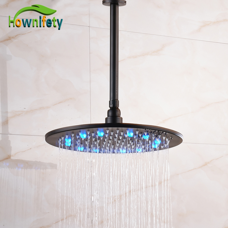 LED Light 10 Inch & 12 Inch & 16 Inch Bathroom Rainfall Shower Head Spray with Shower Arm Oil Rubbed Bronze luxury led color changing 12 square rainfall shower head with brass wall mount shower arm oil rubbed bronze